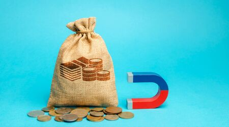 Money bag and magnet. Attracting investments for business purposes and startups. Increase profits and attract new customers. Salary, bonus, cashback. Strategy. Planning and management