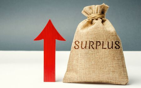 Money bag with the word Surplus and up arrow. The concept of increasing budget surplus. Economic prosperity. Cash receipts are higher than expected. The excess of income over expenses. Analytics