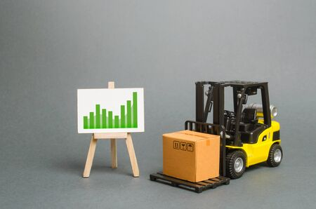 forklift truck carries a cardboard box and a sign with a positive trend. Profit growth from sales and high production of goods. Retail, resale, sales of products. Growth and stability of the economy. 写真素材