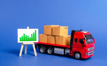 Truck loaded with boxes and easel with a green positive trend chart. Increase in volume of trade with other countries and growth of goods and products transported. Cargo freight. Logistics, supplier 版權商用圖片