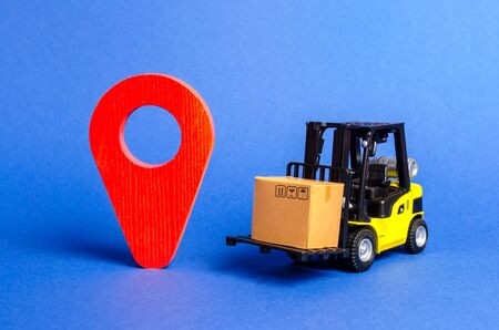 Yellow Forklift truck carries a box next to red pointer location. Services transportation of goods, products, logistics and infrastructure. Transportation company. Location of carriers tracking