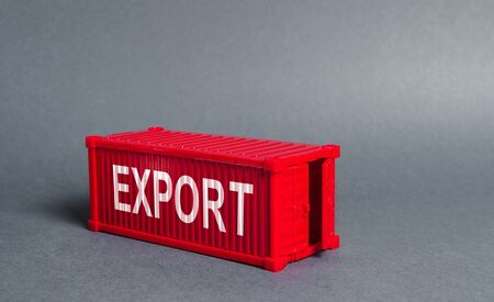 Red cargo shipping container with the word Export. The concept of foreign trade and transportation of goods, delivery, shipping. Industry and production, trade balance and distribution. Globalization