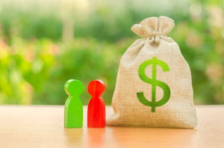 Money bag with dollar symbol and two people figures. Investment and lending, leasing. Available loans and subsidies, government support. Business dispute and its solution between two businessmen.