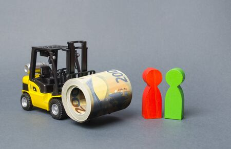 Yellow Forklift truckcarries a large bundle of Euros, a customer and seller. Investments, Preferential cheap loans for business development. Upgrading infrastructure and equipment industry.