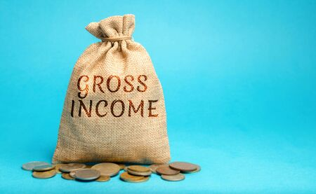 Money bag with the word Gross Income. Profits, wages, salaries, interest payments, rents before taxes. Concept of business and finance. Difference between revenue and the cost. Credit sales