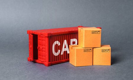Red cargo container with boxes. The concept of commerce and trade, cargo delivery, exchange of goods. Globalization. Performance efficient production. Business and industry, transport infrastructure.