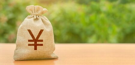 Money bag with Yen or yuan symbol. Finance and Banking. Attracting investment to development and modernization. Business, budget, financial transactions. Available loans and deposits. Copy space