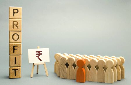 Indian rupee sign with the word Profit near the team. Concept analysis of profits and income in the company. Report for the past period. Analytics. Briefing. ROI. ROR. Budget and capital