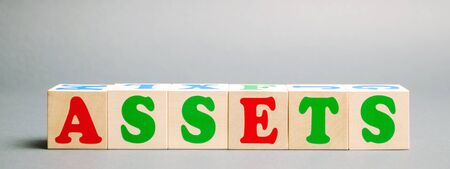 Wooden blocks with the word Assets. Resource owned by the business. Financial accounting. Money and finance. Cash equivalents, certificates of deposit