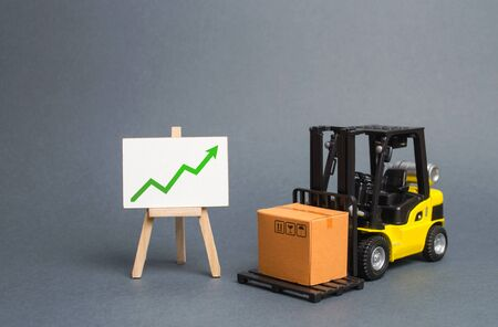forklift truck carries a cardboard box and a sign with green a arrow up. Retail, resale, sales of products. Growth and stability of the economy. Profit growth from sales and high production of goods.