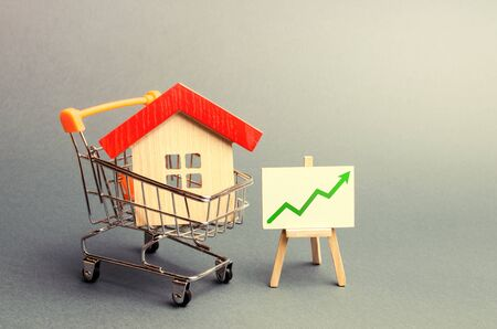 A red roof house in a trading cart and green arrow up on a stand. Increasing the cost and liquidity of real estate. Attractive investing. rising prices or renting. The real estate market boom
