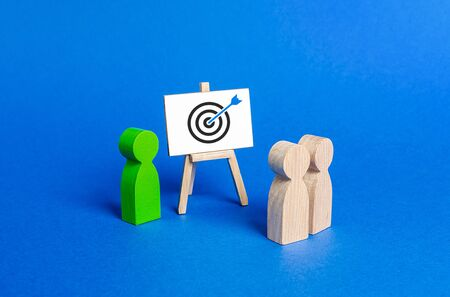 The leader explains employee tactics of advertising targeting. Training, briefing. Search strategies for effective advertise campaigns, customer reach. Business processes, hiring employees.