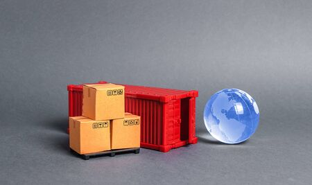 Red cargo container with boxes and blue planet earth glass ball. Business and industry, transport infrastructure. The concept of commerce and trade, delivery, exchange of goods. Globalization Standard-Bild