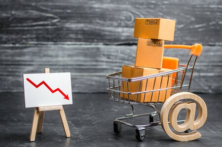 Shopping cart loaded with boxes, email symbol and red down arrow. Reduced online sales over the Internet. Fall in purchasing power. Price reduction. High competition with imports of Chinese goods.