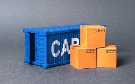 Blue cargo container with boxes. The concept of commerce and trade, cargo delivery, exchange of goods. Globalization. Performance efficient production. Business and industry, transport infrastructure.