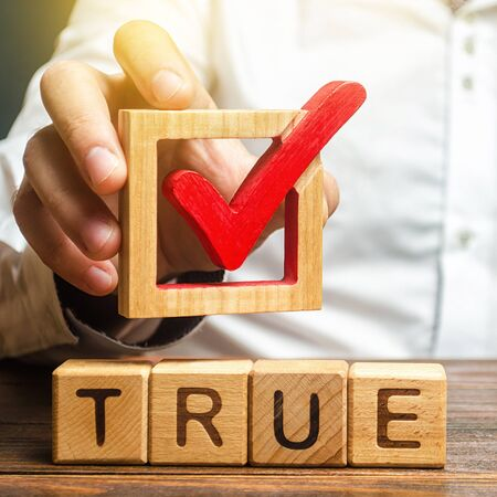 A man holds a red check mark over word True. Confirm the veracity and truth. Fight against fake news hostile propaganda. Confirmation facts, refutation of rumors. Debunking Myths and Misconceptions Foto de archivo