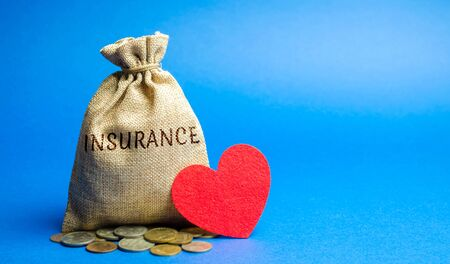Money bag with coins and the inscription Insurance and a heart. The concept of medical insurance of life, family, health. Healthcare. The accumulation of money. Saving
