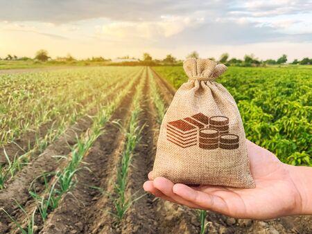Der Bauer hält einen Geldsack vor dem Hintergrund von Plantagen. Kredite und Subventionen für Landwirte. Zuschüsse und Unterstützung. Profitieren Sie vom Agrargeschäft. Bodenwert und Miete. Steuern Besteuerung. Agrar-Startups