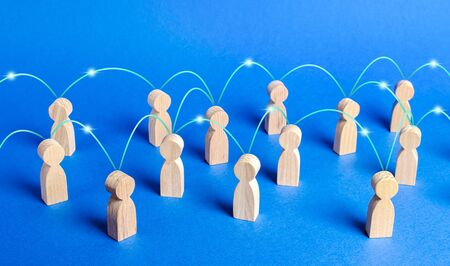 A crowd of people interconnected by communication lines. Cooperation and collaboration, spread news and gossip. Teamwork. unity of society. Marketing, dissemination of trends and information