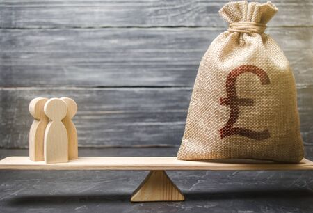 Pound sterling GBP symbol on money bag and people on scales. concept attracting investment, business cooperation, crowdfunding and startup. Staff salary specialist services cost. Solvency, taxpayers