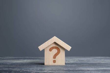 House with a question mark. Cost estimate. Solving housing problems, deciding buy or rent real estate. Search for options, choice type of residential buildings. Property price valuation evaluation Stock Photo