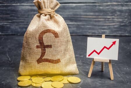 Pound sterling GBP symbol money bag and red trend arrow up chart. Deposit and savings. Increasing profits and revenues, capital growth, profitable business efficiency. Economic prosperity welfare rise
