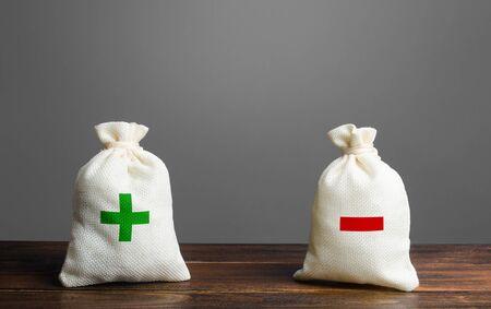 Zwei Taschen mit grünem plus rotem Minus. Zusammenfassung und Bilanz. Einnahmen und Ausgaben. Budgetierung der Handelsbilanz. Finanzmanagement, Gewinn, Verluste. Risikoplanung. Vorteile und Nachteile.