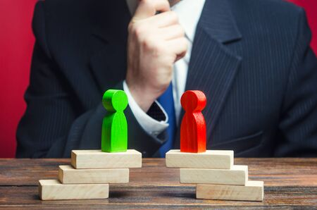 A businessman is studying the negotiation process and rivalry parties. Truce agreement. Candidates Political Debate. civilized resolution disputes, search for compromise. Establishing contact.