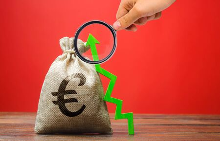 Euro money bag and green up arrow. The concept of a successful business. Increase profits and capital. Budget and income growth. Investments Stock fotó