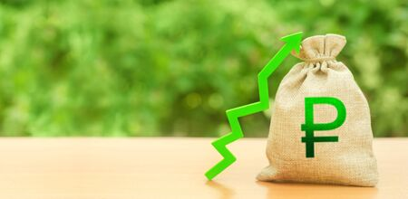 Russian ruble money bag and green up arrow. Strengthening of national currency, revaluation, investment attractiveness. Economic growth. Deposit interest rate rise, cheap loans. Stability, prosperity. Stock fotó