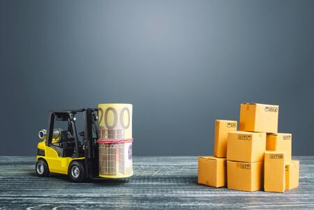 Forklift truck carries a euro bundle roll near stack of boxes. Profit from trade, exchange of goods. Investments financing in production, taxes, income revenues costs. High productivity superprofits