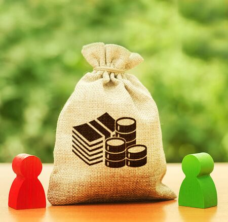 Money bag and two people businessmen. Business investment and lending, leasing. Dispute solution between . Division of property. Business relationship. Trade agreement deal. Negotiation process