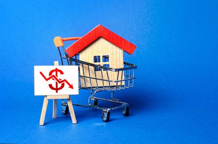 House in a shopping cart and an easel with a red dollar arrow down chart. Fall of real estate market. Cheap rent. Reduced demand, recession. Value cost decrease. Bad attractiveness. Low sales