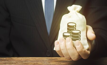 Businessman is holding a money bag in front of him. Provision money credit, grant. Project financing. Donations. Financial social assistance. Payment purchases, profits dividends. Business investment