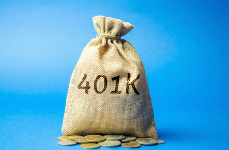 Money bag with coins 401k. Private pension plan. Tax-qualified. Business and finance concept. Retirement Plan. Savings, save