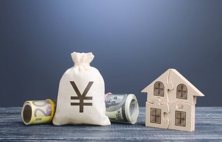 Yen yuan money bag and puzzle house. Mortgage loans building maintenance and utility services costs. Social programs. Housing cooperative membership legal entity. Energy efficiency, savings.