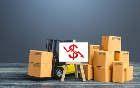 Forklift near boxes and easel with red dollar arrow down. Decline trade and production rates, decreased sales. Bad marketing, price reduction. Low import export. Economic reduced, industry degradation