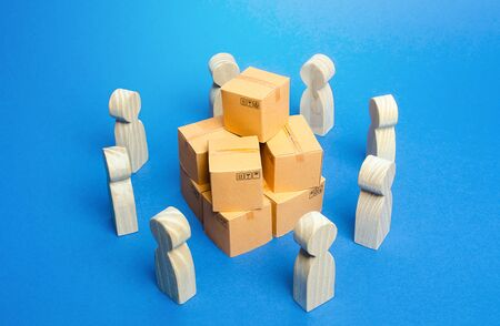 Bunch of boxes surrounded by people. Joint purchases, directly from manufacturer. Business process organization of distribution retail of goods. Marketing and market research. Production collaboration