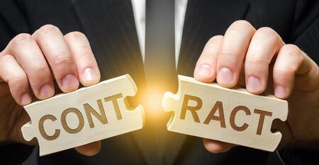 Businessman employer breaks a contract. Breach of a deal. Termination of cooperation, disagreement to renew extend agreement. Termination of order. Violation of conditions and rules. End cooperation