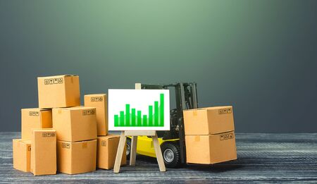 Forklift near boxes and easel with green positive trend growth chart. Growth trade production rates, increased sales. Economic rise and recovery. Price increase,higher income. High import export.
