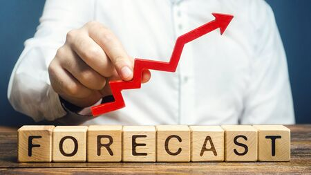 Man holds red arrow up over word Forecast. Budget surplus, optimistic price quotes, rise of company value. Prediction further development of situation. High demand, profitability, economic prosperity