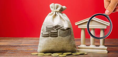 Money bag and government building. Business and finance concept. Deposit, loan and investment in to the bank. Credit. Help from the state. Subsidies and Benefits. Budget. Copy space