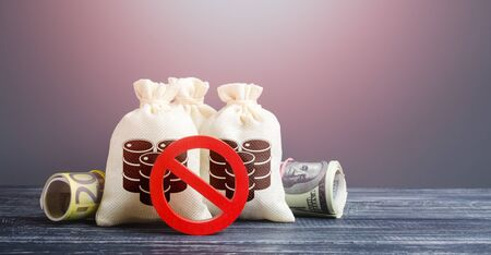 Bags with oil barrels icons and red prohibition symbol NO. Trade and transportation of oil. Buying futures for sale. Lack of storage space and oversupply. Low demand. Strong competition, no buyers.