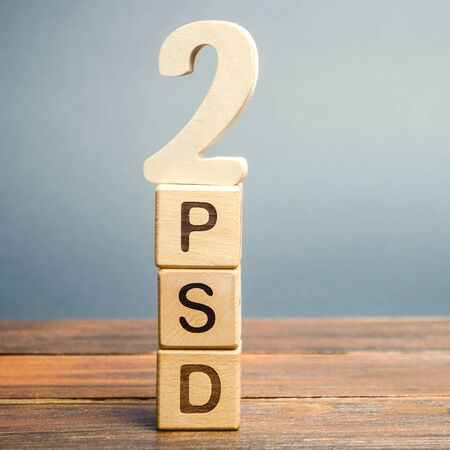 Wooden blocks with the word PSD 2 - Payment Services Directive. European Commission Banking Directive. Increase payment efficiency