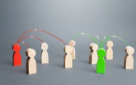 Red and green persons compete for influences on other people. Build support, strengthen your position in a dispute or election. Luring people to their side, imposing opinions. Fight for the minds