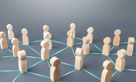 People connected people by lines. Society concept. Social science relationships. Teamwork. Cooperation and collaboration, news gossip spread. Marketing, dissemination of trends and information