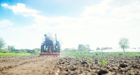 Farmer on a tractor with milling machine loosens, grinds and mixes soil. Farming and agriculture. Loosening the surface, cultivating the land for further planting. Cultivation technology equipment Imagens