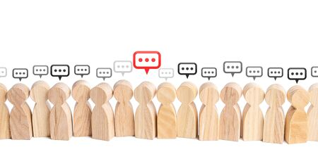 People figures with comment clouds above their heads. Communication in civil society. Cooperation and Collaboration. Commenting on feedback, participation in discussion. Brainstorming, fresh new ideas