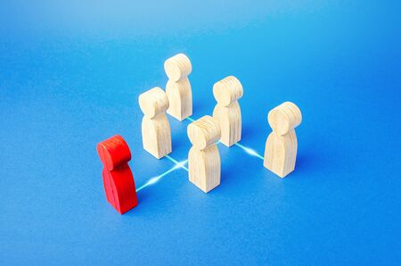 Figures of people stand in a hierarchical system order. Power and management in the company. Effective control and distribution of work responsibilities. Company leader, executive director. Leadership