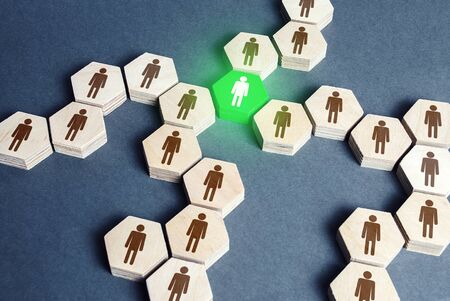 Green human figure is a connecting element of a network of people. A key essential element of the system. Leader and leadership skills. An irreplaceable valuable employee. Specialist and professional.